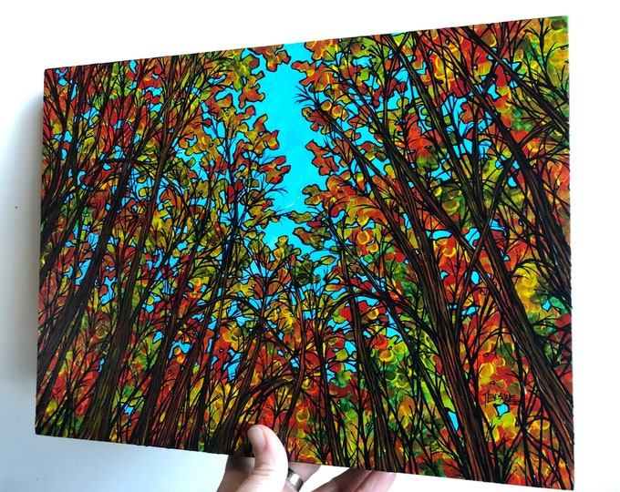 "Featured listing image: 9x12"" Explosion of Fall Color New England Autumn Trees original acrylic painting by Tracy Levesque"