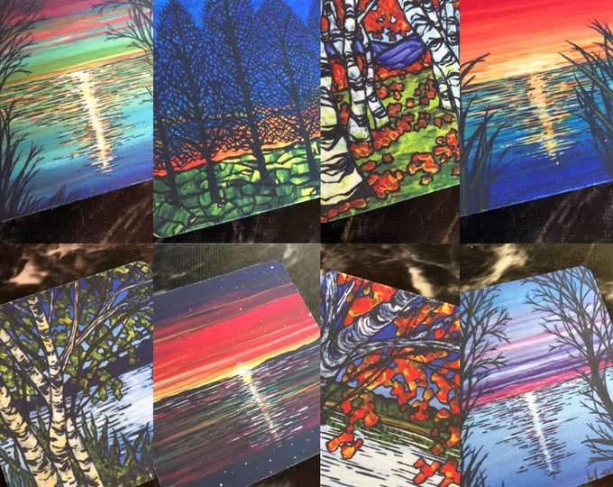 """Sunset and Tree Coasters Sold Separately - Flexible Fabric - Perfect for Summer - 3.5"""" Square Coaster featuring artwork by Tracy Levesque"""