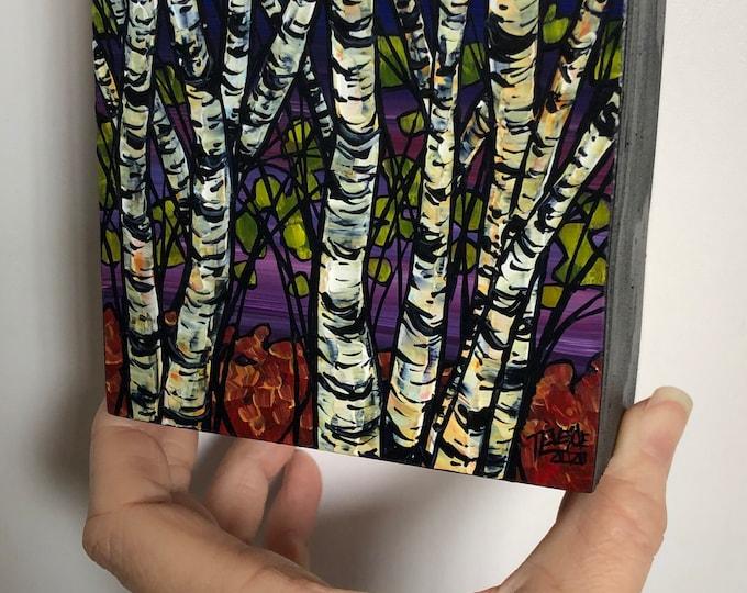"4x4"" Mini Painting Birch Grove Purple Sky original acrylic painting by Tracy Levesque"