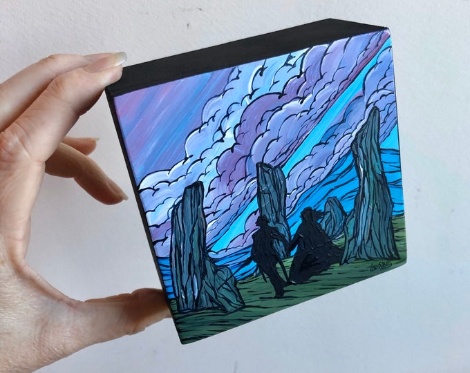 "4x4"" Outlander Craigh Na Dun Jamie and Claire original acrylic mini painting by Tracy Levesque"