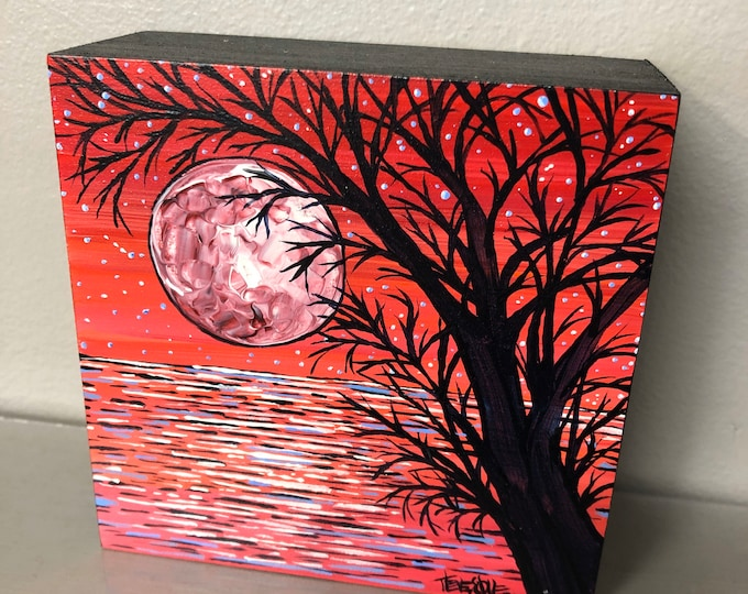 "4x4"" Pink Moon Tree original acrylic painting by Tracy Levesque"