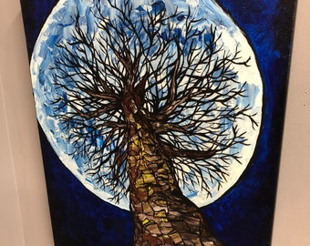 "To the Moon 16x20"" original acrylic painting by Tracy Levesque"