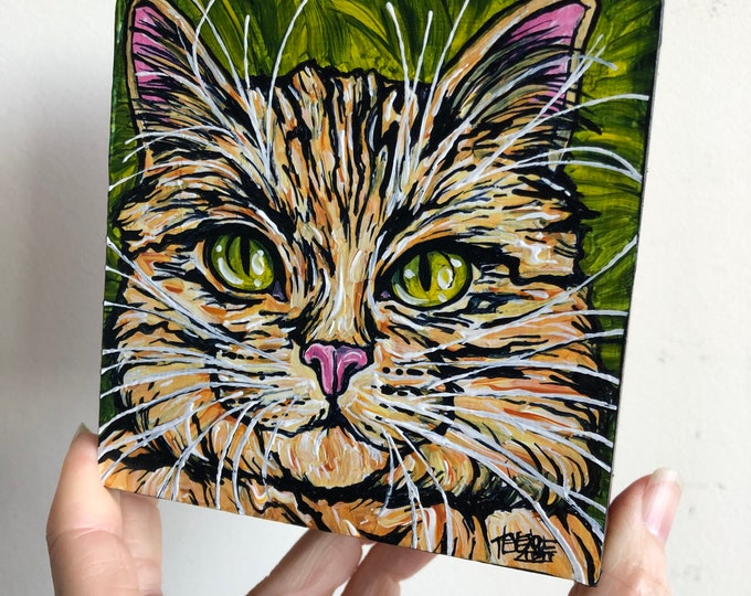 """4x4"""" Tiger Tabby Cat original acrylic painting by Tracy Levesque"""