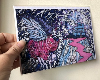 """The Purple Fairy and the cat fairy at the enchanted castle, fairytale, fantasy 5x7"""" greeting cards featuring artwork by Tracy Levesque"""