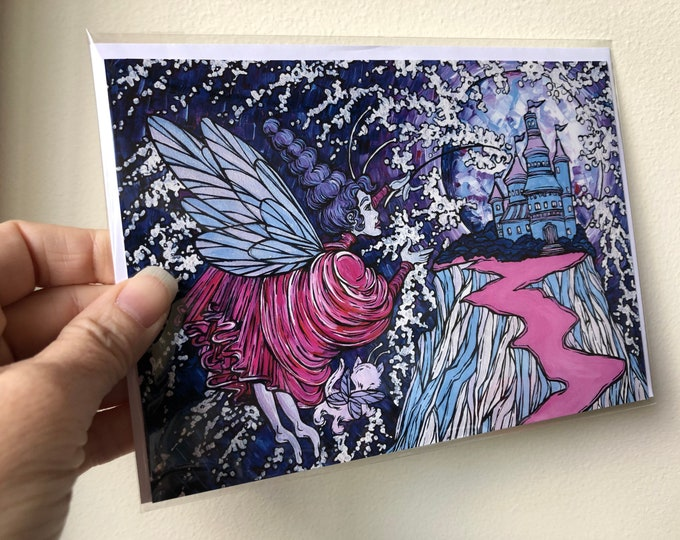 "The Purple Fairy and the cat fairy at the enchanted castle, fairytale, fantasy 5x7"" greeting cards featuring artwork by Tracy Levesque"