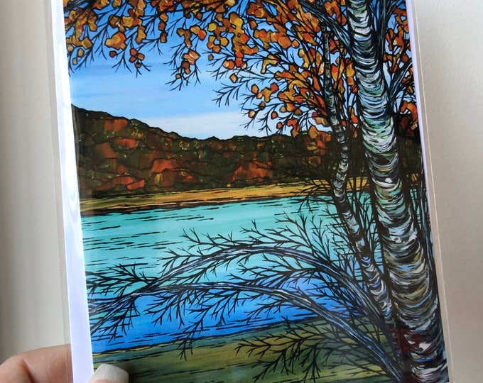 "5x7"" Birch on the Lake greeting card featuring artwork by Tracy Levesque"