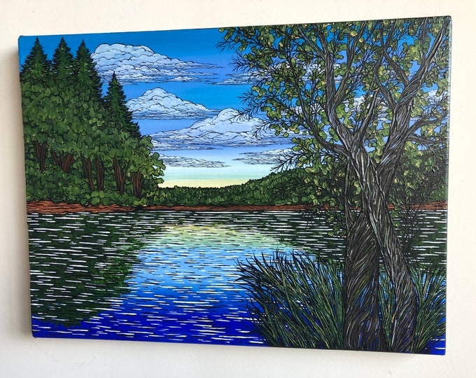 """18x24"""" Summertime at Walden Pond original acrylic painting by Tracy Levesque"""