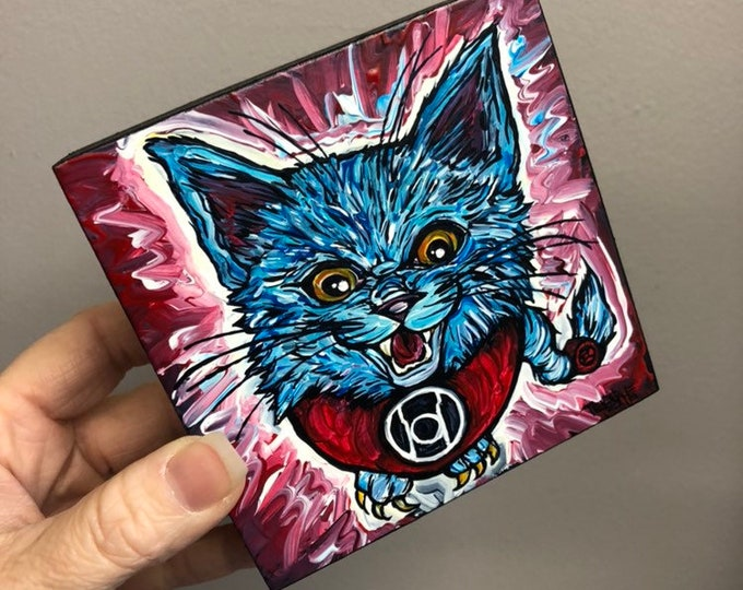 "4x4"" One of a kind painting Dex-Starr by Tracy Levesque"