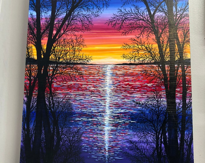 "Chromatic Sunset, 18x24"" Original Acrylic Painting by Tracy Levesque"
