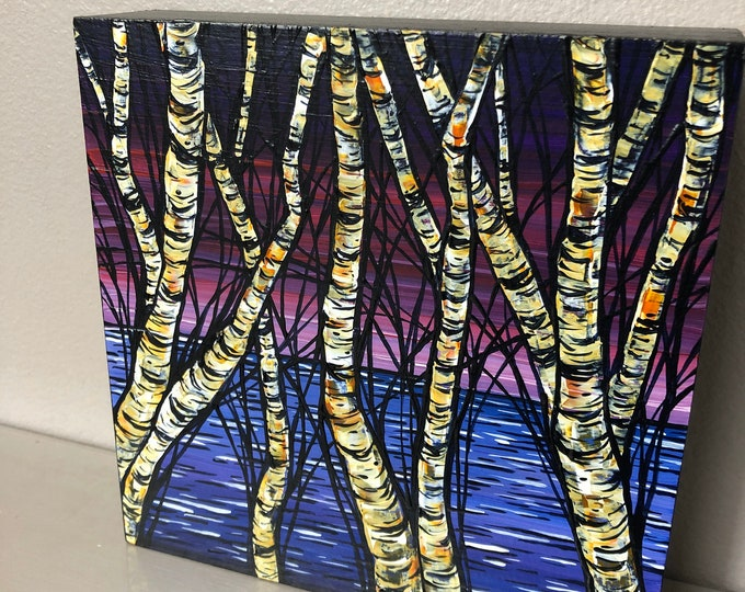 "6x6"" Original acrylic painting Purple Night Birches by Tracy Levesque"