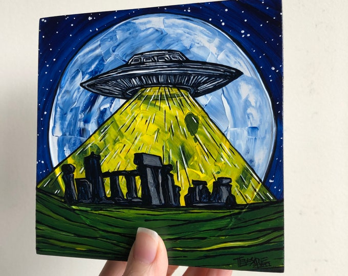 """5x5"""" Stonehenge UFO Alien Full Moon Flying Saucer original acrylic painting by Tracy Levesque"""