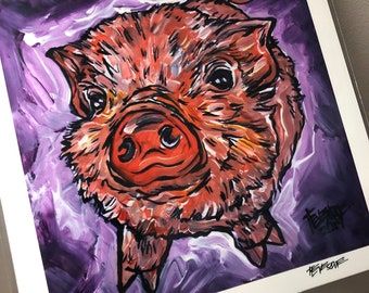"""8x8"""" Print of Adorable Piglet Looking Up, Piggy Love by Tracy Levesque"""