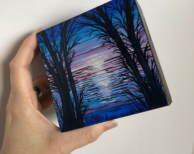 """4x4"""" Blue and Purple Sunset JB7 original acrylic mini painting by Tracy Levesque"""
