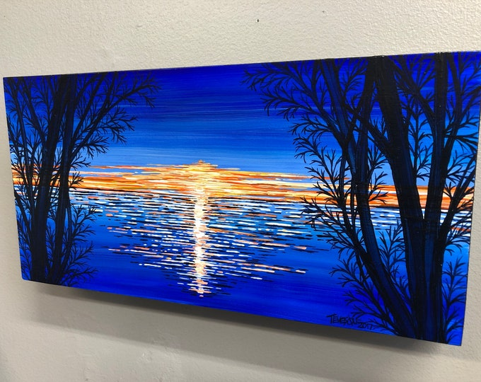 Blue Night, original acrylic painting by Tracy Levesque