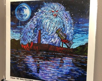 """Yeti Eats Downtown Lowell 12x12"""" metallic print by Tracy Levesque"""