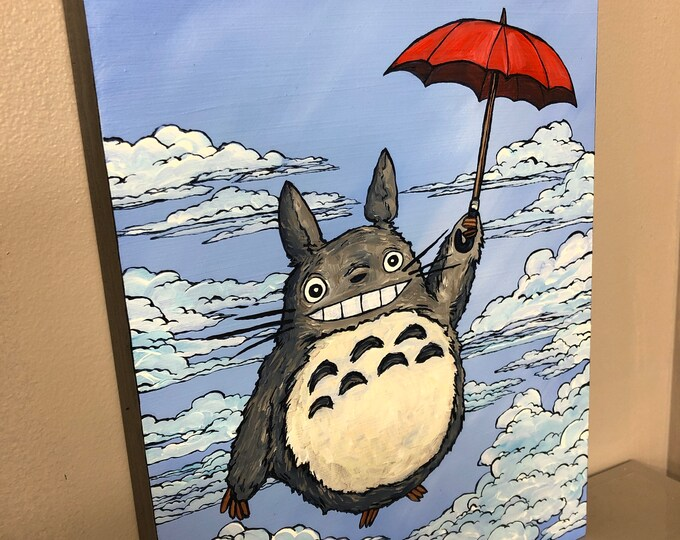 "9x12"" Original painting Totoro in the Clouds by Tracy Levesque"