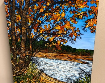 "12x16"" Looking Out on Walden Pond Original Acrylic Painting by Tracy Levesque"