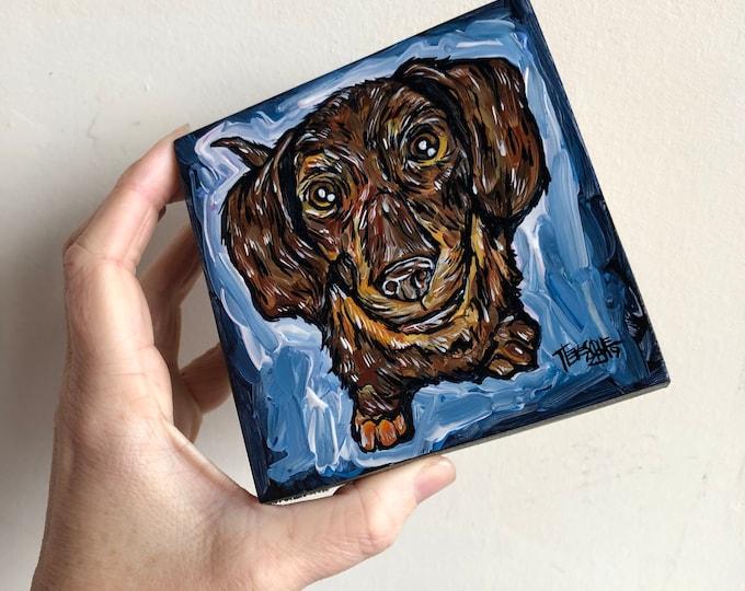 "4x4"" Hotdog Puppy Original Acrylic Painting by Tracy Lévesque"