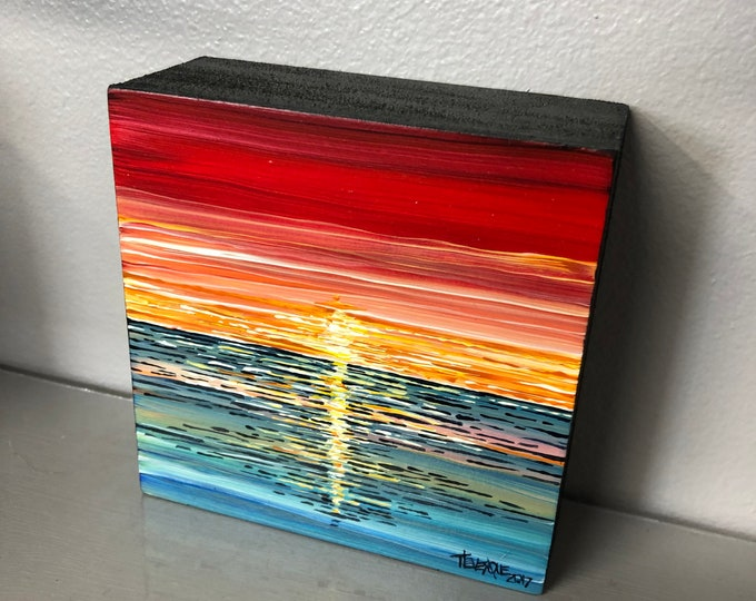 "Red Sunset 4x4"" original acrylic painting by Tracy Levesque"
