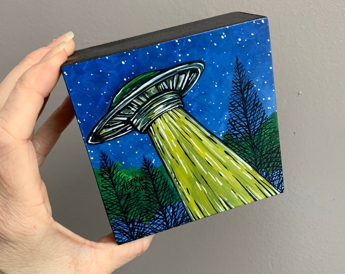 "4x4"" UFO The Truth is Out There original acrylic painting by Tracy Levesque"