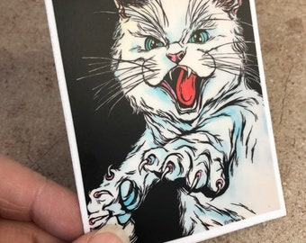 Angry Cat vinyl sticker by Tracy Levesque