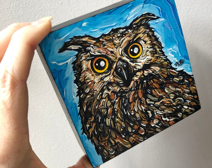 "Intense Brown Owl 4x4"" original acrylic painting by Tracy Levesque"