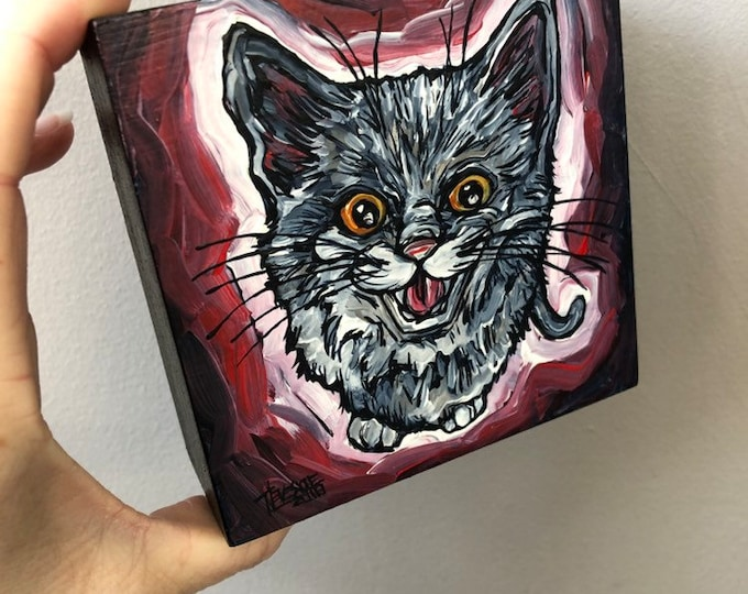 "4x4"" Meowing Gray Cat by Tracy Levesque"