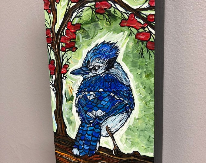 "Bluebird on Green 4x8"" Original acrylic painting by Tracy Levesque"