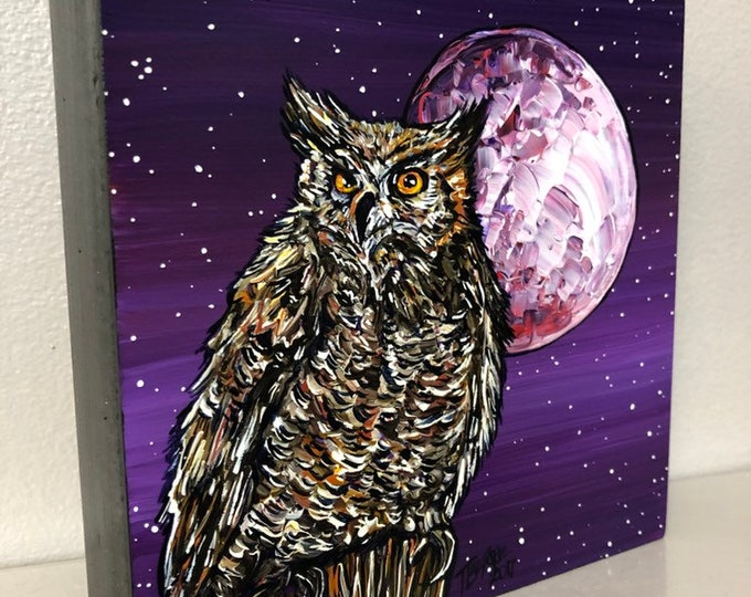 "Owl Full Moon 6x6"" original acrylic painting by Tracy Levesque"