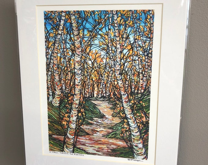 "11x14"" Matted Print of A Stroll through the Birches by Tracy Levesque"