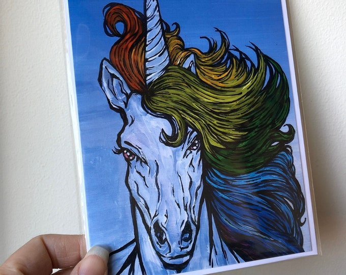 "5x7"" Majestic rainbow hair unicorn greeting card featuring artwork by Tracy Levesque"