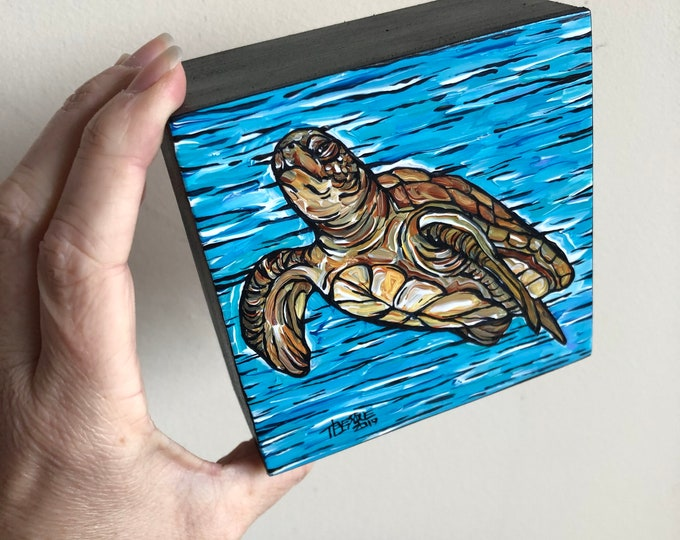 "4x4"" Sea Turtle Original Acrylic Painting by Tracy Lévesque"