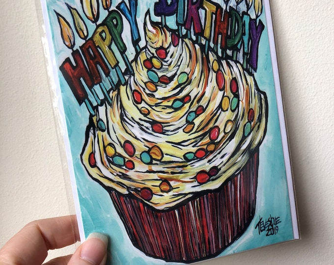 "5x7"" Happy Birthday Cupcake with Candles blank greeting card with envelope featuring artwork by Tracy Levesque"