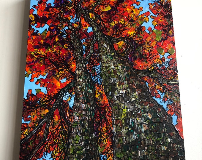 """Featured listing image: 12x16"""" Colors of the Fall New England Fall Foliage Looking Up into the Trees original painting by Tracy Levesque"""