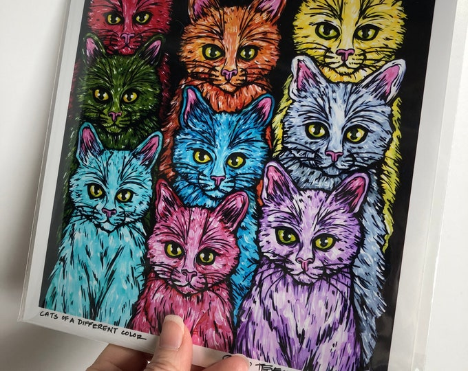"Cats of a different color 8x8"" metallic photographic print by Tracy Levesque"
