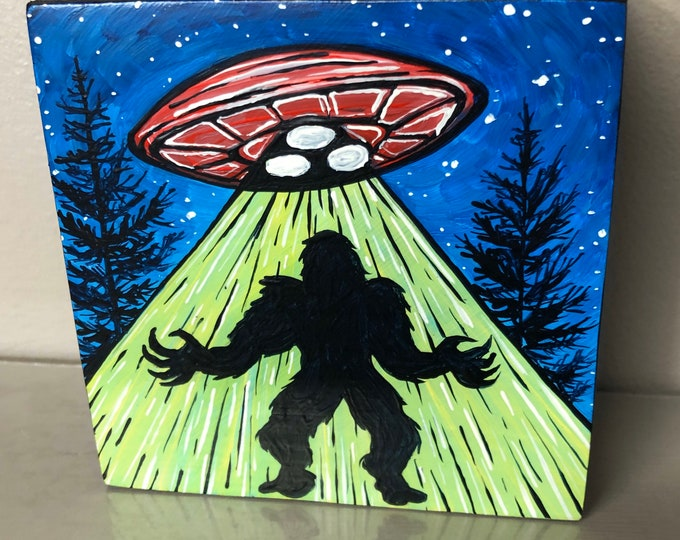 "Sasquatch Bigfoot UFO Abduction 4x4"" original acrylic painting by Tracy Levesque"
