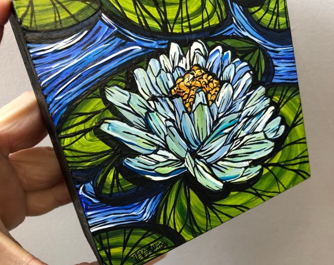 "4x4"" White Lotus Flower Liky original mini painting by Tracy Levesque"