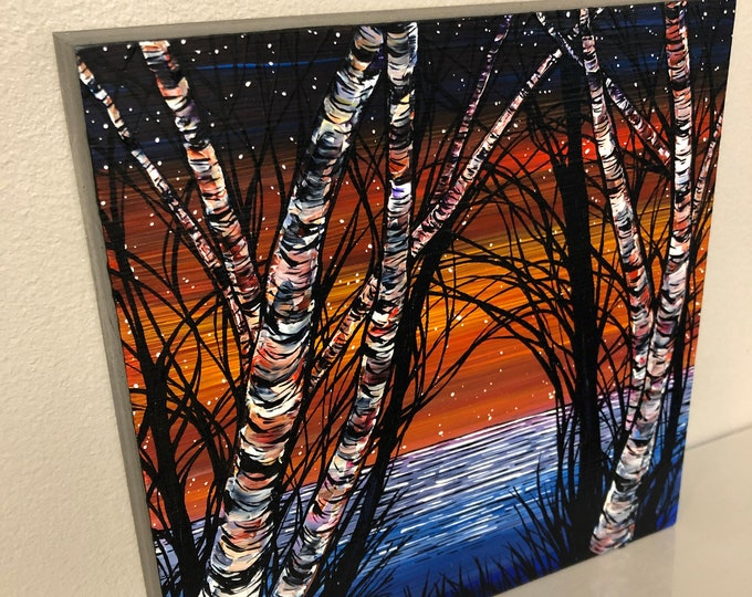 "8x8"" Birches on Prism Lake original acrylic painting by Tracy Levesque"