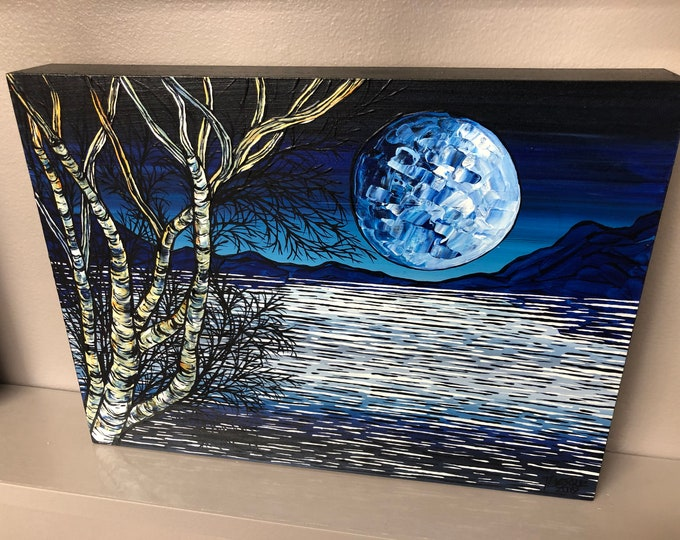 "9x12"" Winter Moonscape original acrylic painting on wood panel by Tracy Levesque"