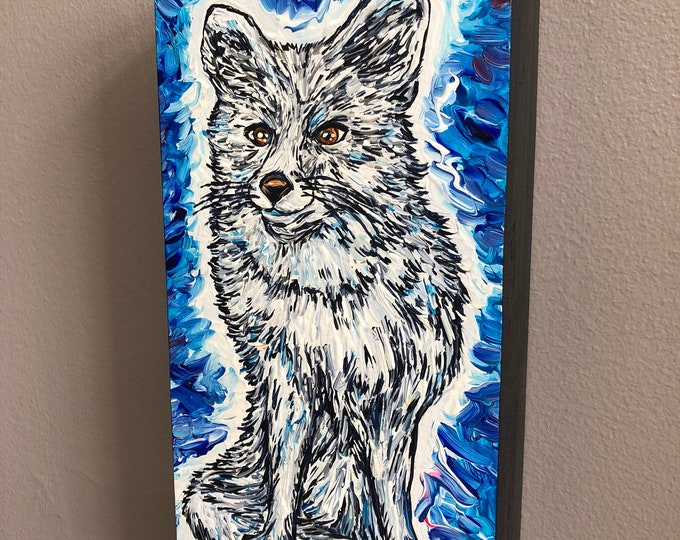 Arctic Fox, original acrylic painting by Tracy Levesque