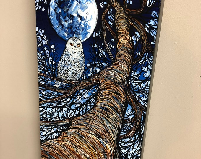 "Blue Moon Snow Owl Tree, 10x20"" Original acrylic painting by Tracy Levesque"