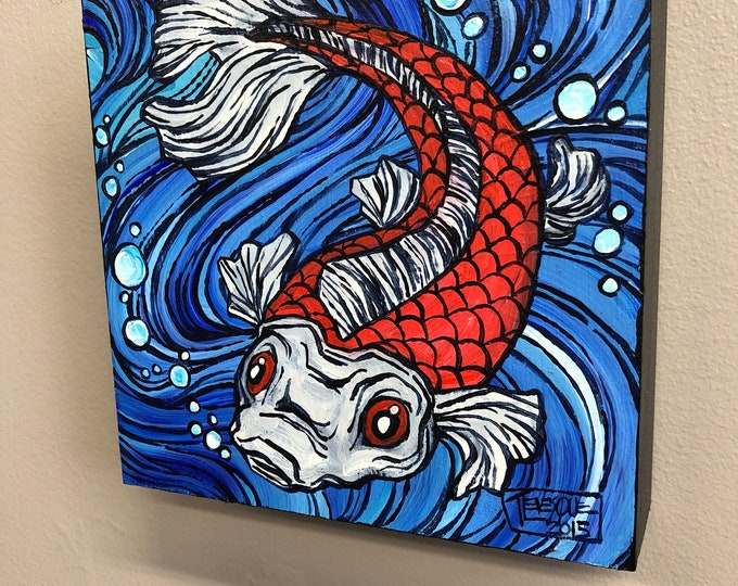 Red and White Koi Fish, original actrlic painting by Tracy Levesque