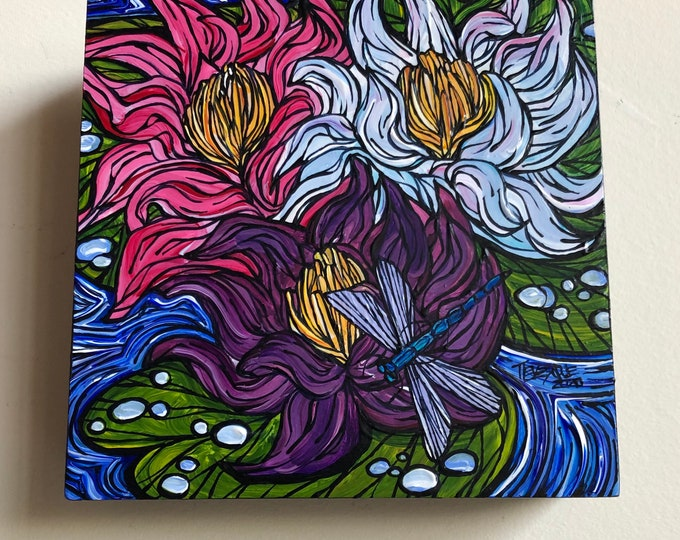 """6x6"""" Lucky Lotus Dragonfly Water Lilies original acrylic painting by Tracy Levesque"""
