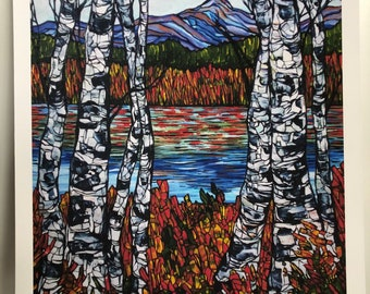 "Birches at Chocorua White Mountains New Hampshire 11x14"" Fine Art giclee print by Tracy Levesque"