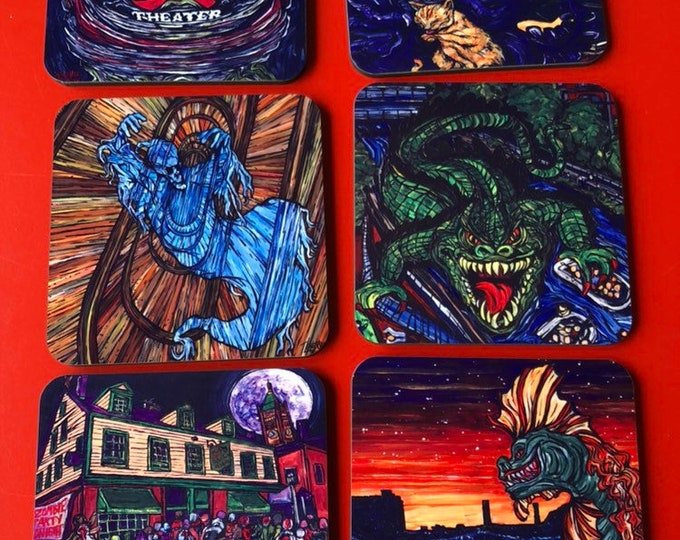 Single Coasters Mill City Monsters Alien Clock, Luna Spacewoman, Merrimack Monster, Canaligator, Kerouac Worthen Zombies, Ghost Mill No 5