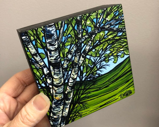 "4x4"" Birch Tree NB49 original mini painting by Tracy Levesque"