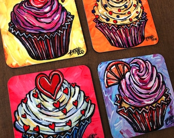 Whimsical Set of 4 Cupcake Coasters featuring artwork by Tracy Levesque