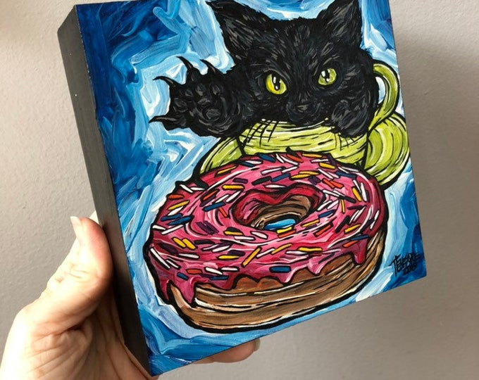 "6x6"" Caturday Donut original acrylic painting on wood by Tracy Levesque"