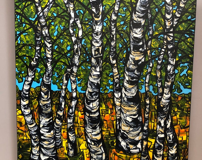 "Birches of Spring 22x28"" original acrylic painting on canvas by Tracy Levesque"