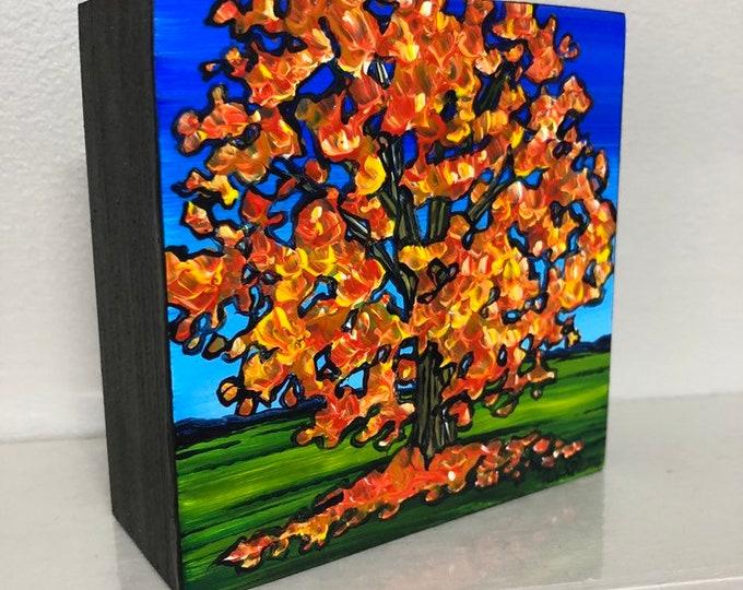 "4x4"" Original acrylic painting Fall Tree bu Tracy Levesque"